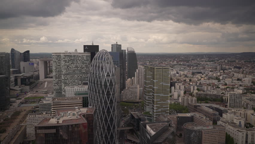 Large view of buildings of La Defense, the business district in Paris, France | Shutterstock HD Video #1022819671