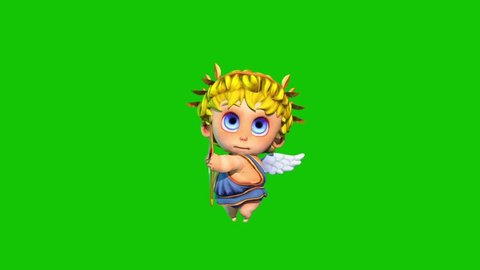 Happy Cupid Happy Valentine's day Green Screen 3D Rendering Animation