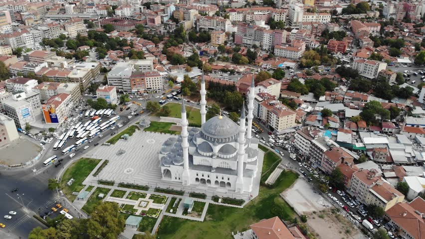 Drone shot of Kocatepe Mosque in Ankara Turkey. Aerial of large mosque in the center of Turkish capital city. Neo-classical ottoman architecture Islamic church. Circling around religious structure. | Shutterstock HD Video #1022858671