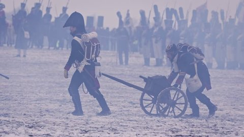 Austerlitz, Czech Republic - December 1st 2018: Napoleon army soldiers with artillery cannon