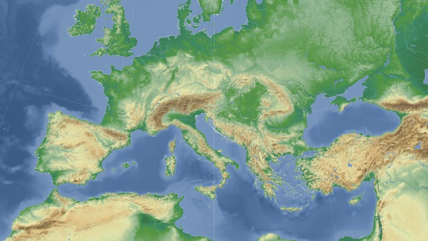 Bulgaria On The Physical Map Outlined And Glowed Elements Of This