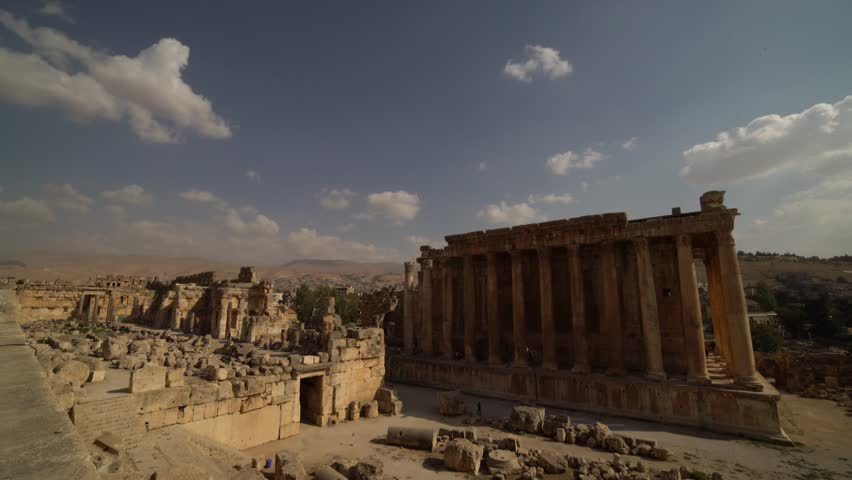 Historic ancient Roman Bacchus temple in Baalbek, Lebanon | Shutterstock HD Video #1022920141