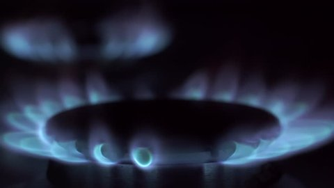 Natural Gas Inflammation In Stove Burner. Gas-Stove In Nights