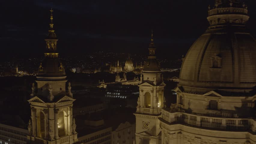 Hungary, Budapest - aerial video of the snow covered downtown, the Danube river, Basilica and Parliament building in winter | Shutterstock HD Video #1022988211