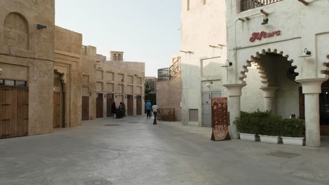 DUBAI UNITED ARAB EMIRATES - JANUARY 5 2019: Dubai New District, Al Seef. View of restaurant in traditional arabic buildings at Al Seef Meraas