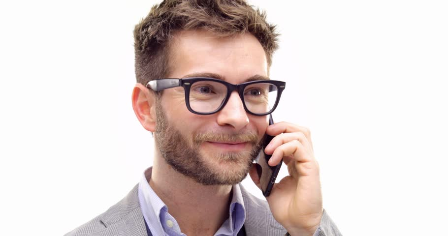 a707d6ebb4d Professional business blonde adult man wearing eyeglasses and using  smartphone.Person action.People video portrait isolated on white background.