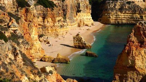 Scenic view of Praia da Marinha beach, Algarve south of Portugal