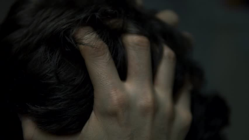Mentally Unstable Man With Head In Hands, Stressed And Anxious Pulling Hair. | Shutterstock HD Video #1023108151