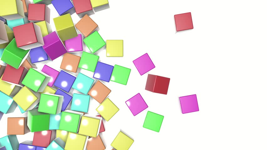 Multi-colored cubes fall on a white background. animated background. 3d render   Shutterstock HD Video #1023126631