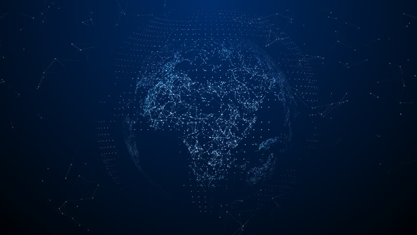 3D digital globe, seamless loop. Abstract plexus 3D rendering. Technology data network around the earth, covering the surface. Interconnection, global Internet. Modern design.   Shutterstock HD Video #1023164971