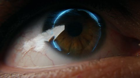 Futuristic eye scan with 3D world map imprinted on eyeball