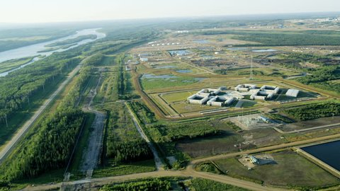 Aerial view of Mt Logan Lodge Fort McMurray commercial oil workers accommodation Athabasca river Wood Buffalo Northeast Alberta Canada RED WEAPON