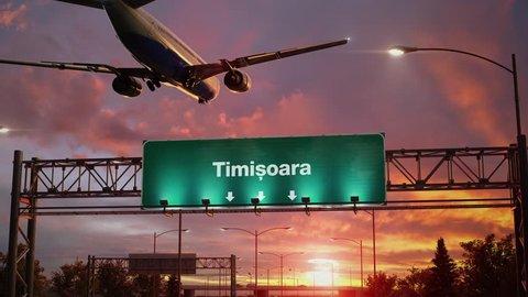 Airplane Landing Timisoara during a wonderful sunrise.Romanian