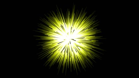 Animation of glowing tunnel with fast flying yellow light streaks on a black background. Abstract motion background.