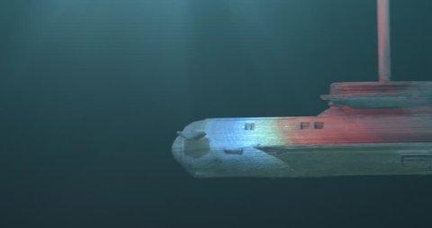 Submarine Launching Torpedos. Model Submarine Under Water. Macro. 4K.