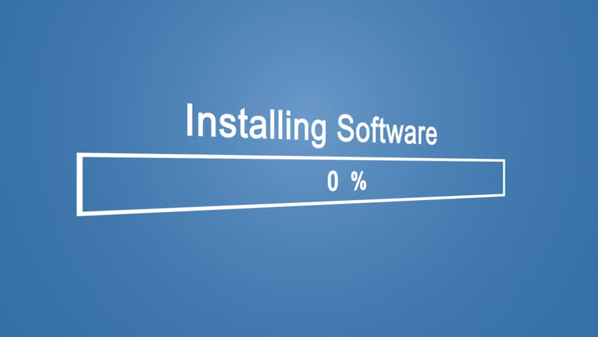 Install Program Process Animation on Blue Background | Shutterstock HD Video #1023389881