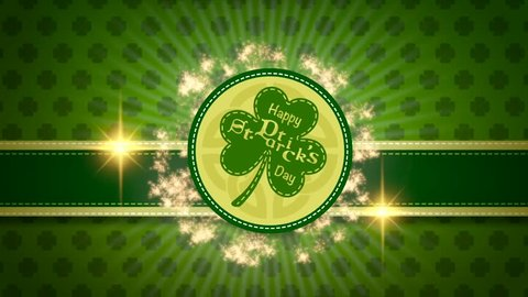 Saint Patricks day party promotion looped video animation for pub or bar