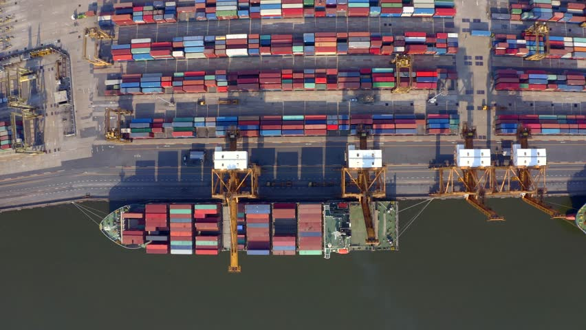 Bangkok, Thailand - January 20,2019 : Aerial view of container ships in the Port of Bangkok, Thailand on January 20,2019. | Shutterstock HD Video #1023407221
