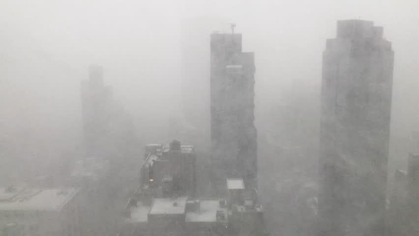 Snow squall (snowstorm) whipping through the skyscrapers in Manhattan, New York City