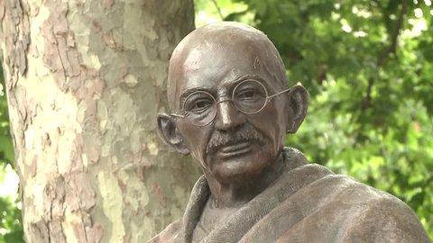 Westminster London / England - June 12th 2016 Mohandas Karamchand Gandhi statue in Westminster,
