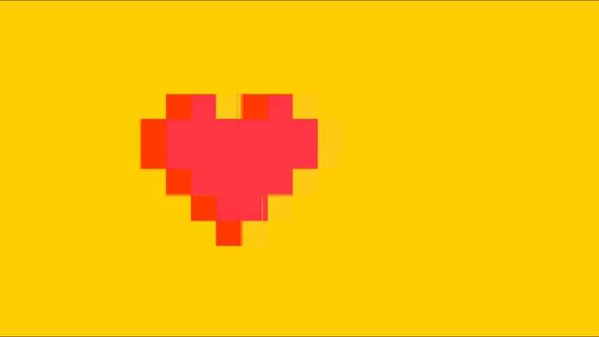 Pixel art glitch heart with tv interference dynamic video animation for colorful holiday retro futuristic style digital footage