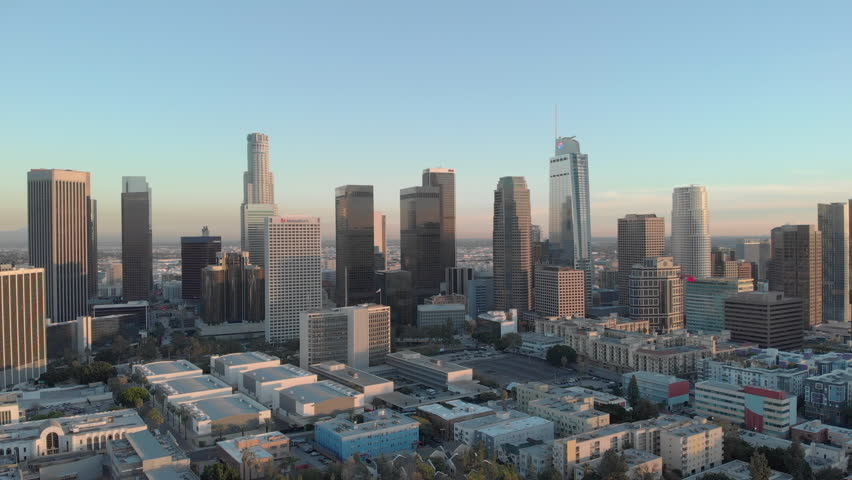 LOS ANGELES - CIRCA JANUARY 2019: Downtown buildings skyline aerial evening sunset | Shutterstock HD Video #1023552241