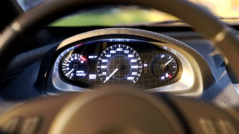 Speedometer fast car automobile speed dashboard accelerate. 3D grid close angle. 4k. 3d animation rendering