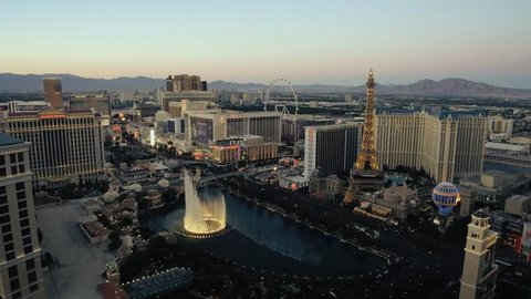 LAS VEGAS, Nevada, USA. 15 June, 2017 - A unique evening aerial shot of the Las Vegas Strip with the Bellagio fountains in the foreground.