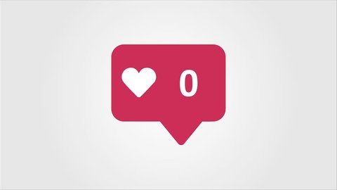 4K social media red Likes Counter, Shows Likes Over Time.