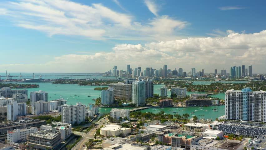 Aerials of Miami Beach condominiums summer vibes travel destination 4k | Shutterstock HD Video #1023725881