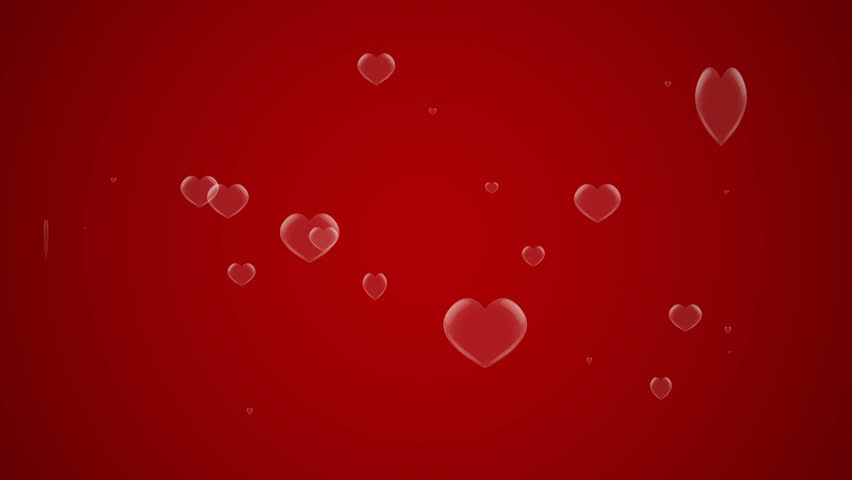 Bubble heart shape popping on red background