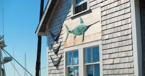 Boat House with Fish Art, Swordfish, Harbor Marina Fishing Boats