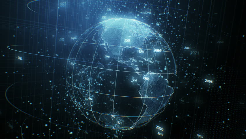 Beautiful Earth Hologram Rotating Seamless with Counting Years Flying in Cyberspace Structure Around Globe. Looped 3d Animation with Blur. Futuristic Business and Technology Concept 4k UHD 3840x2160. | Shutterstock HD Video #1023760291