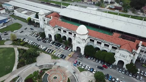 IPOH,Perak Malaysia - February  6, 2019 : Aerial view of Ipoh Beautiful Railway Station (KTM) in Ipoh town