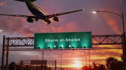Airplane Landing sharm el-shaikh during a wonderful sunrise