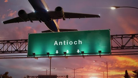 Airplane Take off Antioch during a wonderful sunset