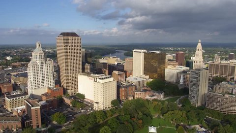Hartford, Connecticut / United States - August 25 2018: Hartford Connecticut City Skyline, Aerial Drone