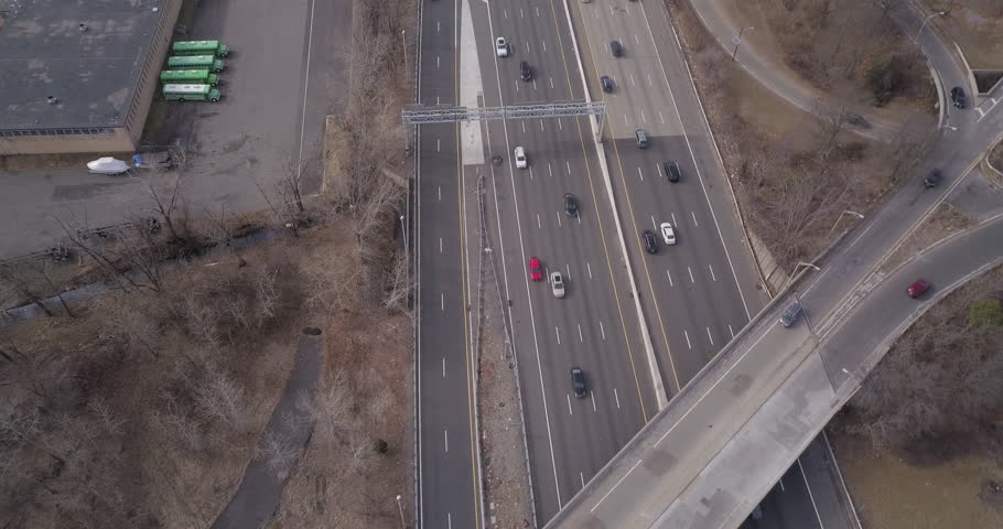 Drone moving down highway #1023966971