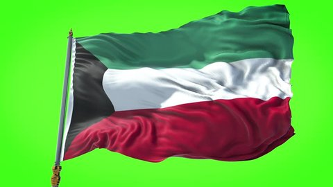 Kuwait flag waving in slow motion of the National Flag of Kuwait waving on the wind. Seamless Loop. 4K, Ultra HD resolution. chroma key green screen, Rectangle flag style. 30sec video.