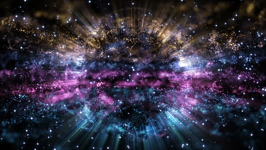 4K Abstract motion background animation shining particles stars sparks and magic dust forming in space wave flow with light rays and projections seamless loop | Shutterstock HD Video #1024012001