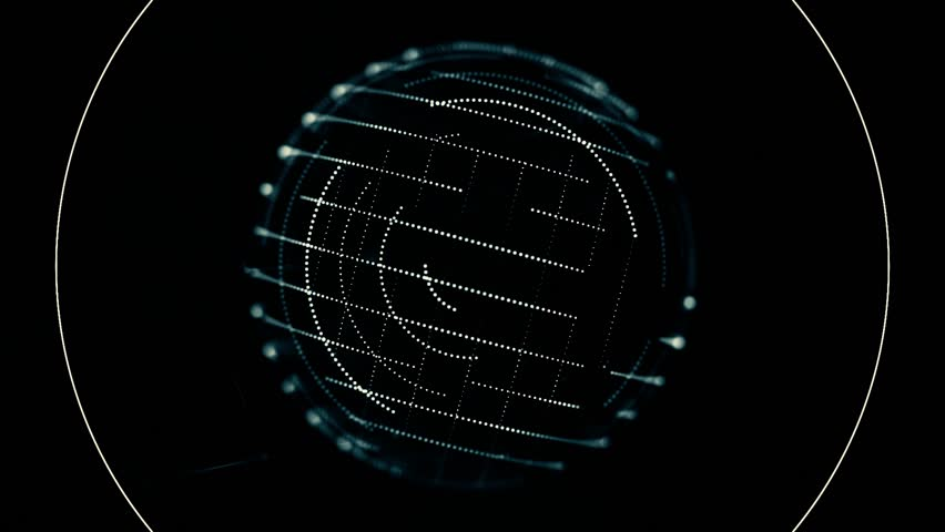 Digital, blue transparent sphere with small moving dots on its surface rotating nad receiving signals on black background. Abstract spinning orb consisting of small particles and sound waves. | Shutterstock HD Video #1024023611