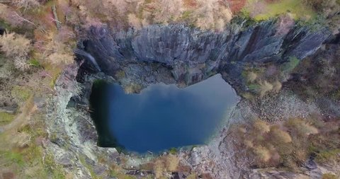 Aerial view of Hodge Close Quarry in the Lake District, UK