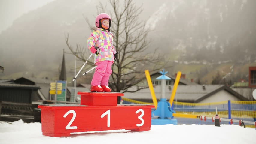 Portrait Of Young Preschool Girl. She Stand On Podium And Posing. | Shutterstock HD Video #1024054721