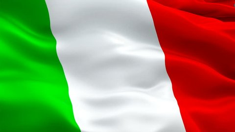 Italy flag video waving in wind. Realistic Italian Flag background. Italy Flag Looping Closeup 1080p Full HD 1920X1080 footage. Italy EU European country flags/ Other HD flags available
