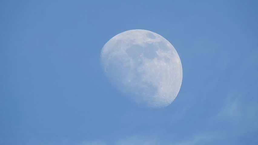 75 percent moon full zoom in day light