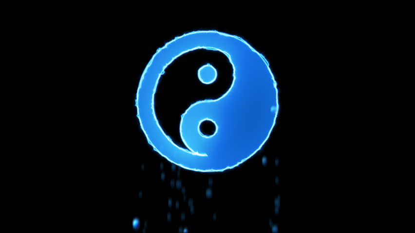 Liquid symbol yin yang appears with water droplets. Then dissolves with drops of water. Alpha channel black | Shutterstock HD Video #1024154861