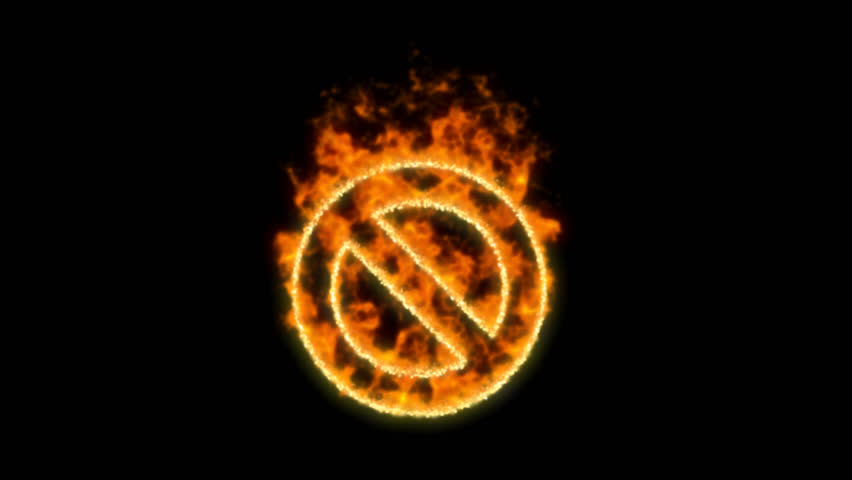 Ban symbol inflames. Then disappears. In - Out loop. Alpha channel Premultiplied - Matted with color black | Shutterstock HD Video #1024154981