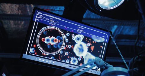 Screen for monitoring the body cells, display with molecules. Technical laboratory.