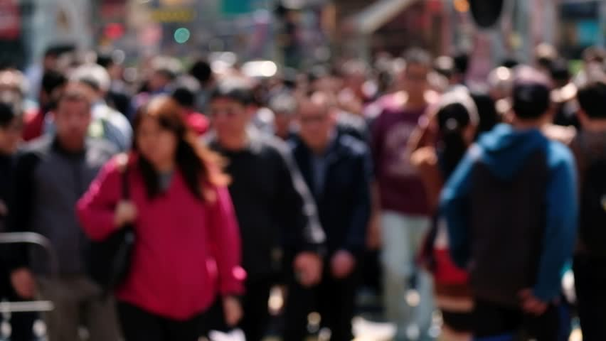 Blurred people on busy crosswalk. Travel busy people concept. Hong Kong concept. Real time. 4K   Shutterstock HD Video #1024189601