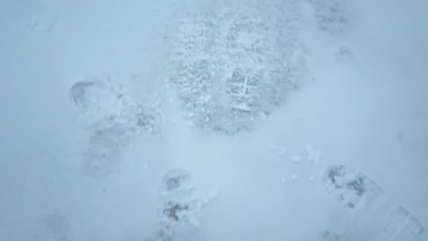 First-person view, running along the trail. pursuit in the snow | Shutterstock HD Video #1024195541